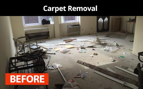 Carpet removal services in New York City - before photo