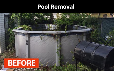 Pool removal services in New York City - before photo