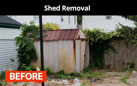 Shed removal services in New York City - before photo