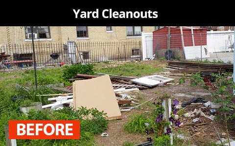 Yard cleanouts services in New York City - before photo