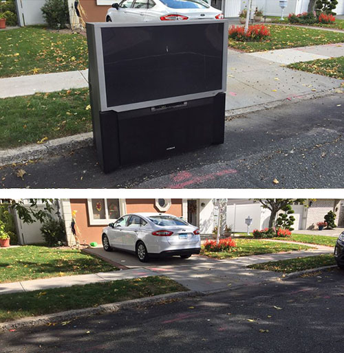 Projector TV Removal from side walk New York City